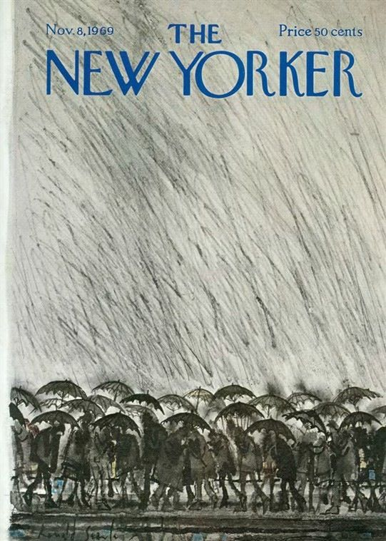 Rain and Umbrellas, 1969, Ronald Searle, The New Yorker, USA