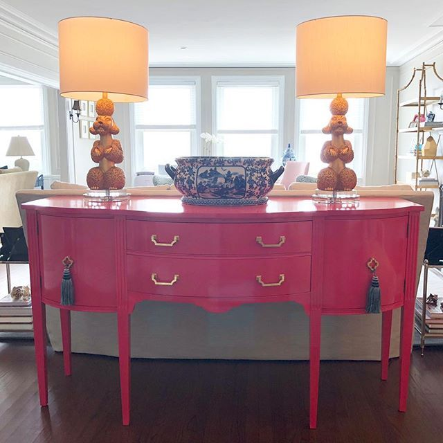 Look At This Beautiful Pink High Gloss Queen Anne Buffet Tarashannondesign Did An Amaz Pink Painted Furniture Painted Bedroom Furniture Queen Anne Furniture
