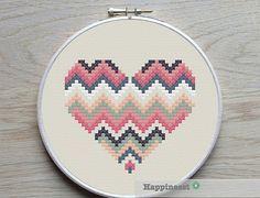 3 geometric modern cross stitch heart patterns by Happinesst Mais
