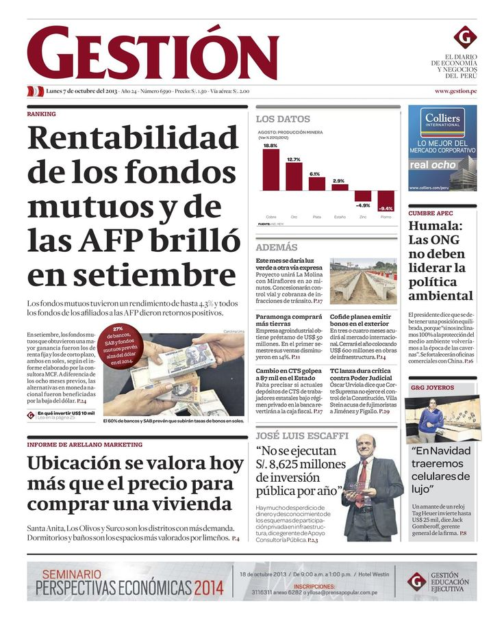 Portada del 07-10 | Rentabilidad de los fondos mutuos y de las AFP brilló en setiembre. #Gestion