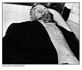 The badly beaten corpse of Emmett Till a 14 year old African-American boy who was murdered in Mississippi for reportedly flirting with a white women. Emmett Till was given a public funeral in an open casket to show the brutality of the beating. The death rallied support for civil right all over America.