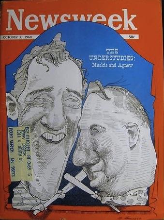 Newsweek, Edmund Muskie and Spiro Agnew portrait by David Levine, 1968