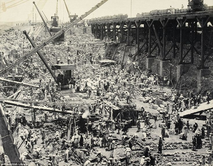 construction history | George's 'Construction of the Aswan Dam' in around 1899, is from ...
