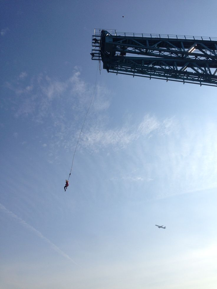 Laura  or Danielle from our sales team (we can't tell who!) bungee jumping from Glasgow Titan crane!