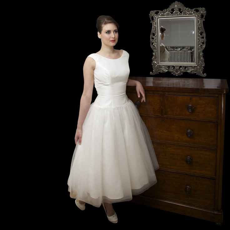 Timeless chic audrey tea length 1950s audrey hepburn style for Pin up inspired wedding dresses