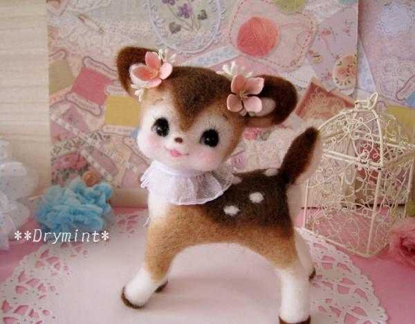 Precious little needle felted retro deer by *Drymint