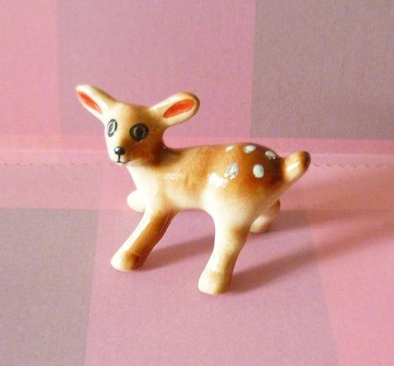 Tiny Ceramic Cute Deer FIGURINE Home Decor Garden Decor MINIATURE DOLLHOUSE Gift