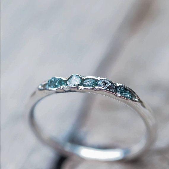Hidden raw diamond ring, sterling silver, blue diamonds - dainty stacking ring