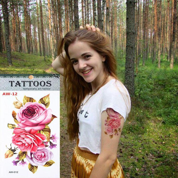 Hot 3D tattoos one-time temporary tattoos Arm flower tattoo waterproof female body art tattoo model