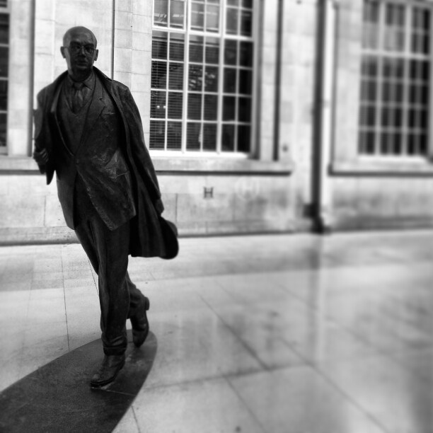 Philip Larkin poet statue taken at Hull railway station