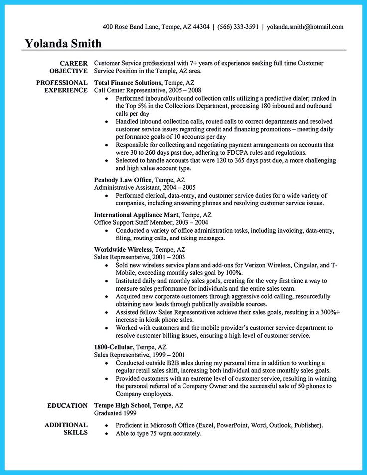 When making call center supervisor resume, you should first fill - perfect customer service resume