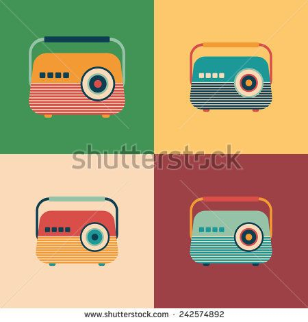 Colorful set of classic radio receivers. #retro #retroicons #flaticons #vectoricons #flatdesign