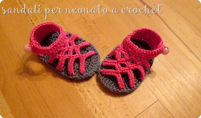 sandali per neonato all'uncinetto