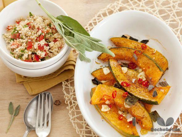 Tolles Herbstrezept für Kürbis aus dem Ofen mit Couscous