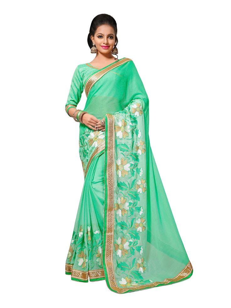 Buy Designer Sarees Green Colour Chiffon Jari Embrodery Work With Less Border Saree Buy Saree online UK - Buy Sarees online