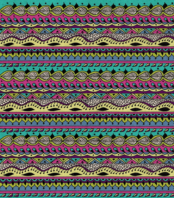 aztec pattern cool colors turquoise Hippie Chick III – Truus