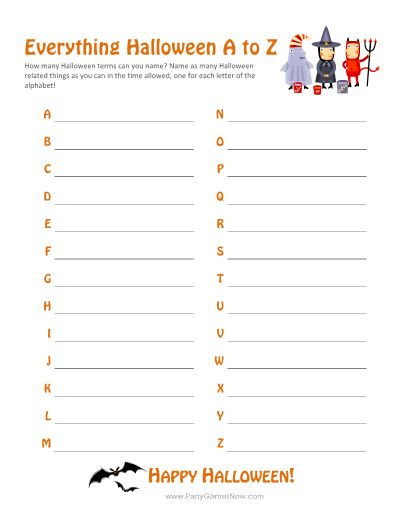 """""""Everything Halloween A-Z"""" Game - Adult Halloween Games, Kids Halloween Games, Printable Halloween Games"""