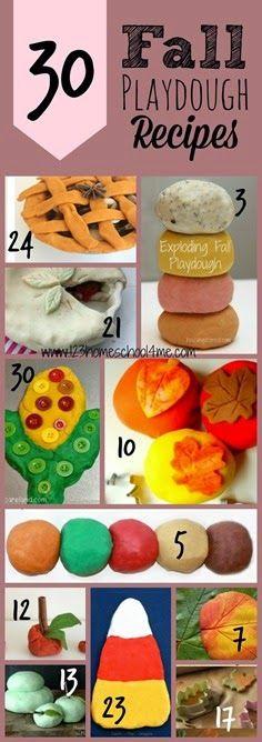 30 Fall Playdough Recipes ~~~~~ #playdough #play #kidsactivites #fall #preschool