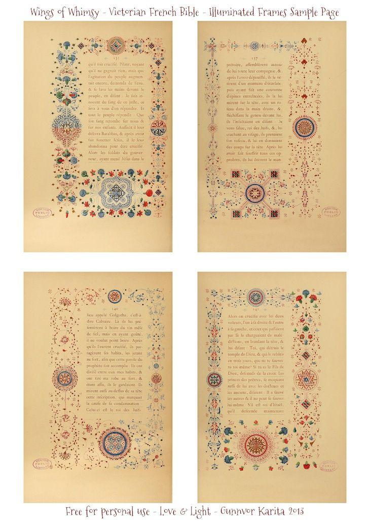 LesEvangilesIlluWIngs of Whimsy: Illuminated Victorian French Bible - Les Evangiles 1864 - Sample Page #vintage #victorian #ephemera #pintab...