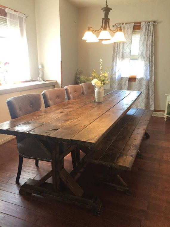 *****Local customers only, (Pennsylvania/Maryland) WE DO NOT SHIP ****  **This listing is for a rustic farmhouse table. This beautiful farmhouse table is made from solid pine. Waste no more time looking at overpriced tables when you can find exactly what you are looking for at the most reasonable price.**  All tables are handmade and can be customized to your liking. I use 100% American made materials. Each piece of the table is distressed, sanded, stained, and treated to ensure longevity…