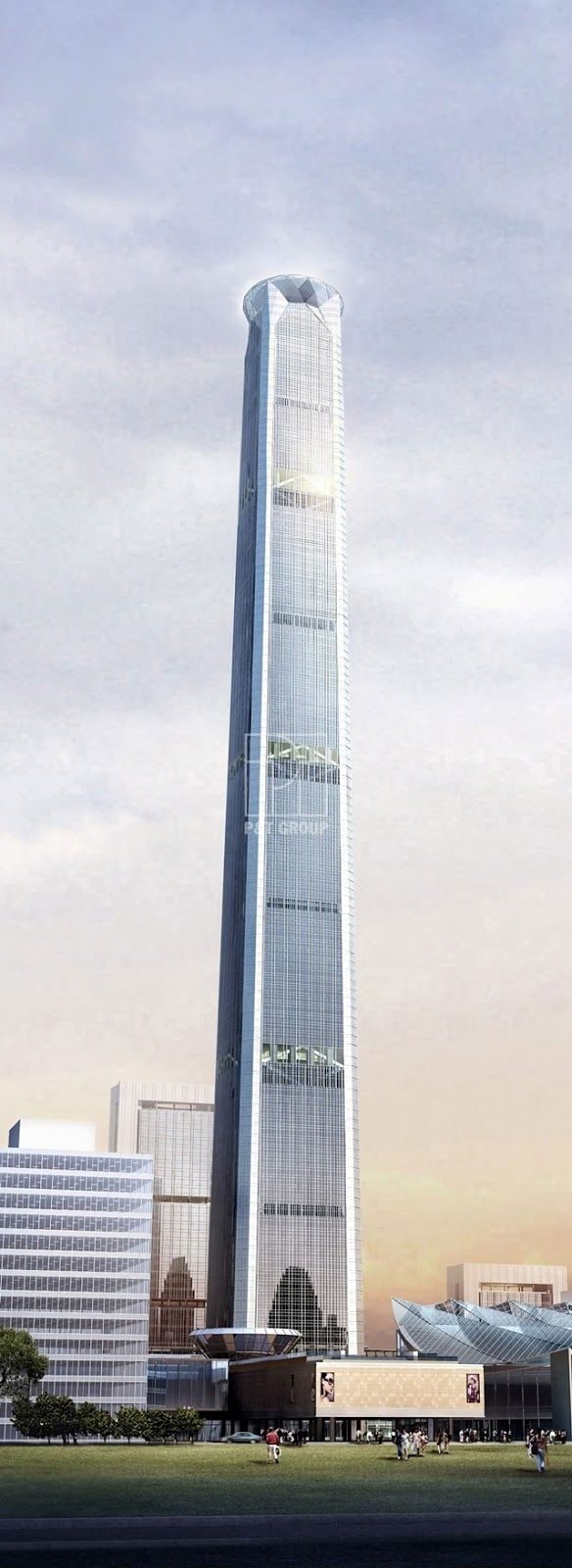 Goldin Finance 117 Tower, Tianjin, China. This building is known for its huge diamond shaped crown. It will be 597 m (1,957 ft) tall with 117 floors.