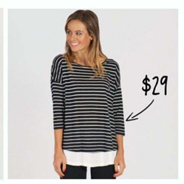 New and online now this Freez faux-layered top is a sure-fire win at only $29! Shop online now link on our bio! #top #women #fashion #womensfashion #ootd #shoponline #smallbusiness #portfairy #clothing #boutique #shop3284 #greatoceanrd #stripes #stripey #monochrome #casual by evolvelifestyle