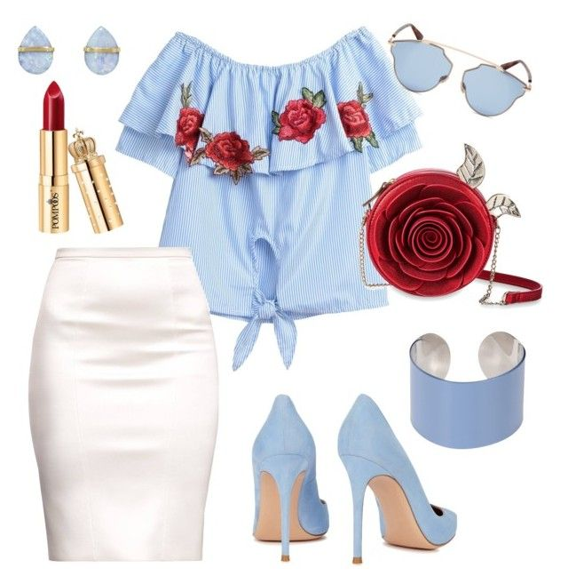 """#blue&red #rose #summer"" by sanikova on Polyvore featuring Gianvito Rossi, Maison Margiela, Melissa Joy Manning and Christian Dior"
