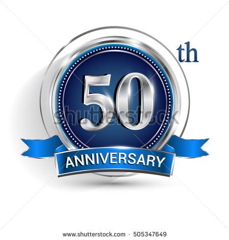 Celebrating 50th anniversary logo, with silver ring and blue ribbon isolated on white background.