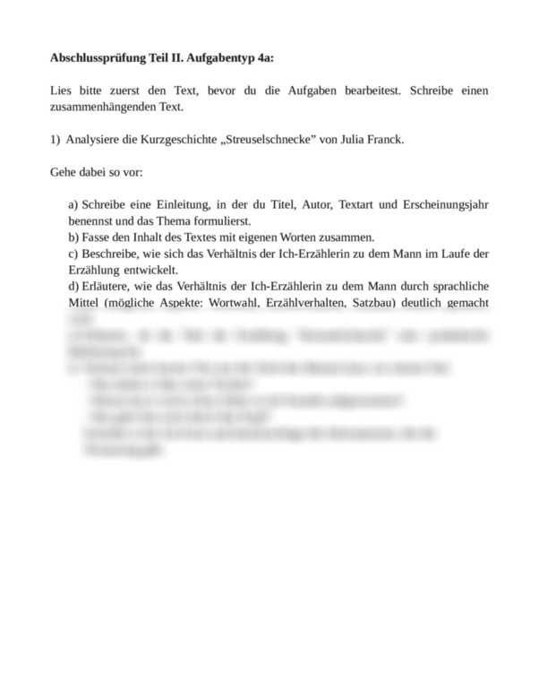Angeleitete Analyse Der Kurzgeschichte Streuselschnecke Von Julia Franck Abschlussprufung Teil Ii Aufgabentyp 4a N Textarten Kurzgeschichten Mittlere Reife