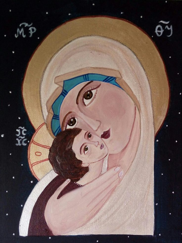 Theotokos, obraz malowany  wg ikony z internetu
