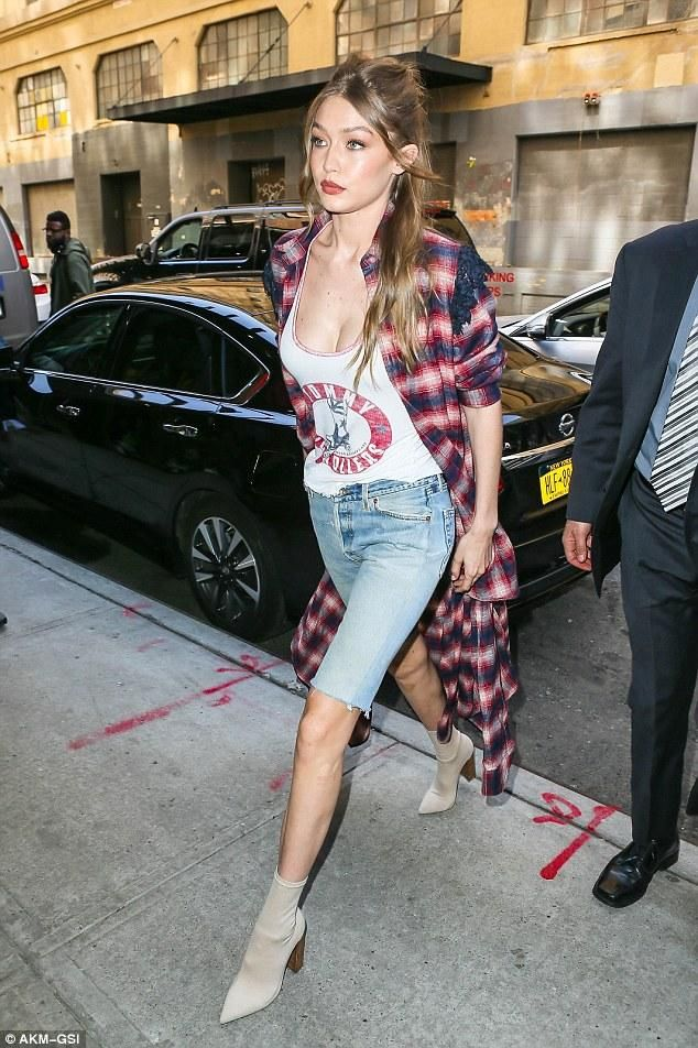 Gigi Hadid wearing Tommy Hilfiger Highrollers Jersey Tank Top and Tony Bianco Diddy Ankle Boots in Sand Onyx