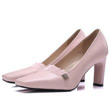 2017 top mode carré orteils femmes en cuir véritable pompes noir rose 7 cm haute talons bureau dames printemps été carrière pompe chaussures(China (Mainland))
