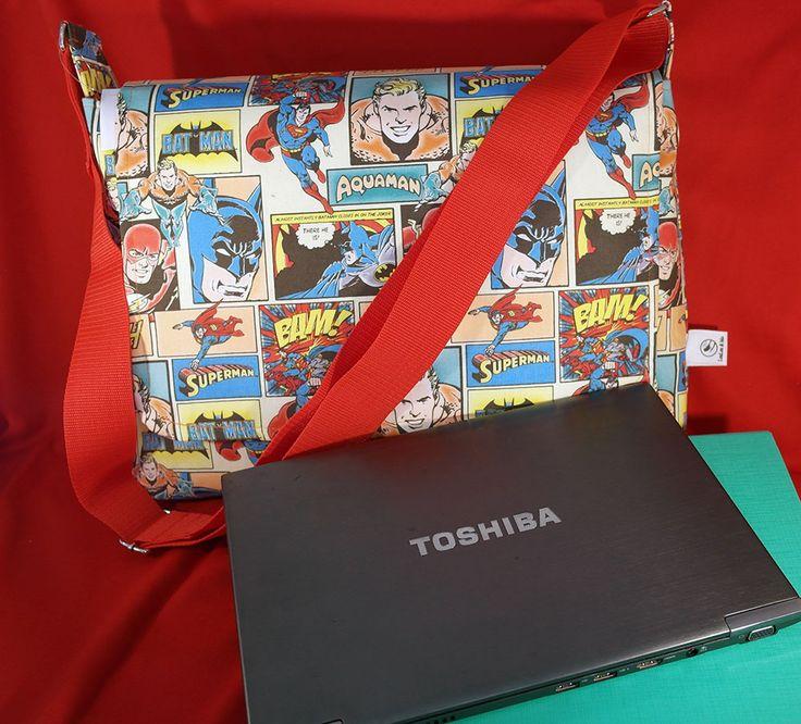DC Comics fabric computer Bag – Aquaman, The Flash, Superman and Batman all on one bag!