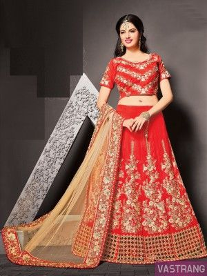 Red Net Heavy Embroidery Lehenga with Embroidered Choli