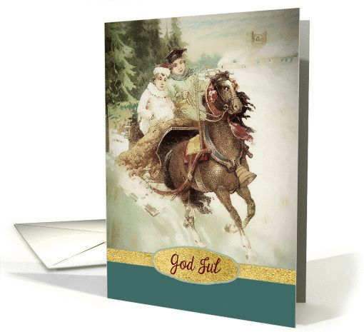 Merry Christmas in Norwegian, God Jul, Vintage, Gold Effect card