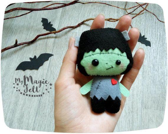 Ornaments Halloween felt decor Frankenstein by MyMagicFelt on Etsy
