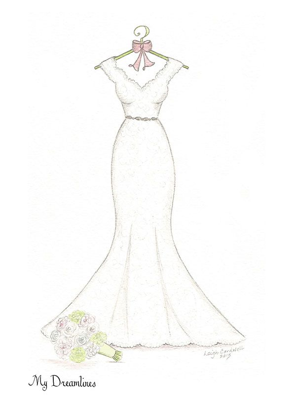 Wedding dress sketch gift uk hampers