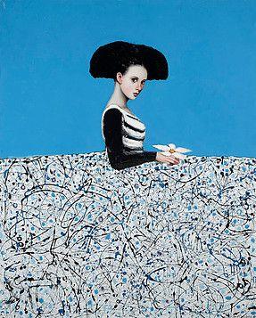 Menina azul de la flor by ALFREDO PALMERO