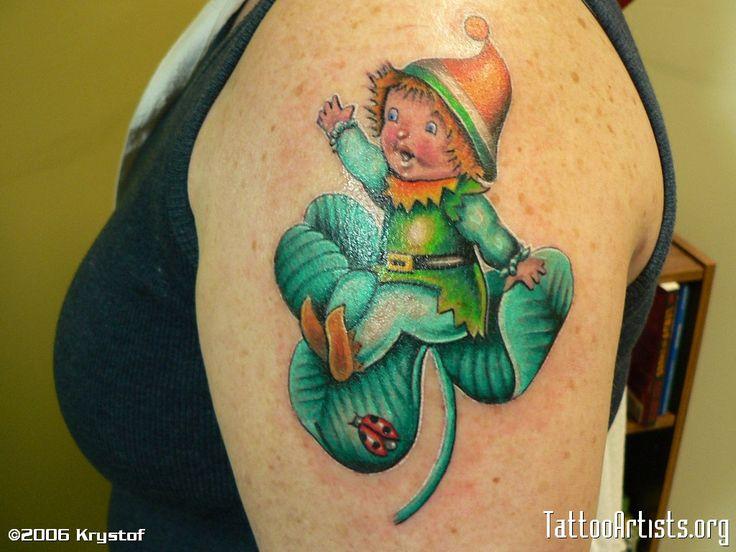 Cute Baby Leprechaun sitting on a clover - # Irish # Irishtattoo #talesofthetatt  -  www.talesofthetatt.com