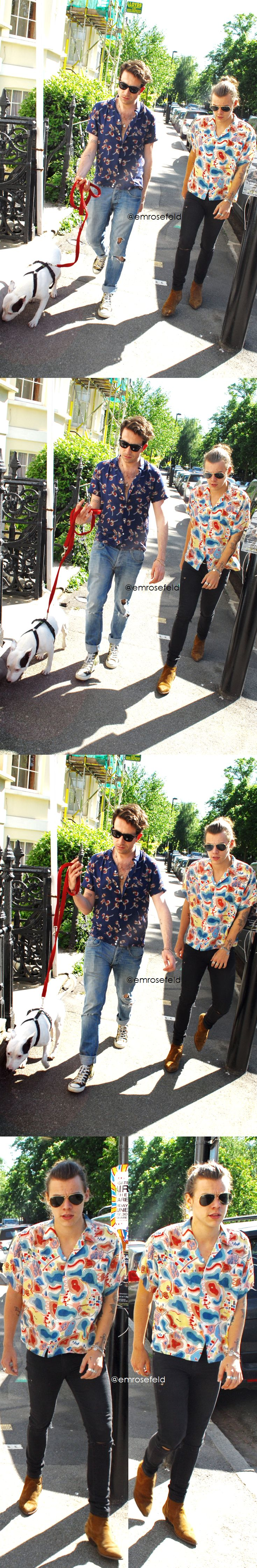 Harry Styles | out in North London with Nick Grimshaw 6.4.15 | @emrosefeld |