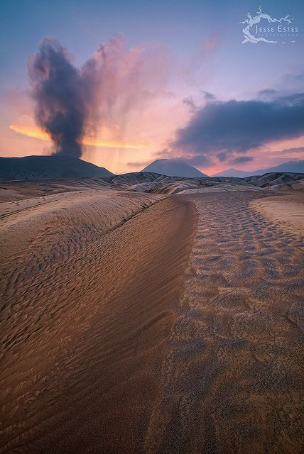volcanic ash dunes, Mount Bromo, Bromo Tengger Semeru National Park, East Java, Indonesia.  Photo: Jesse Estes