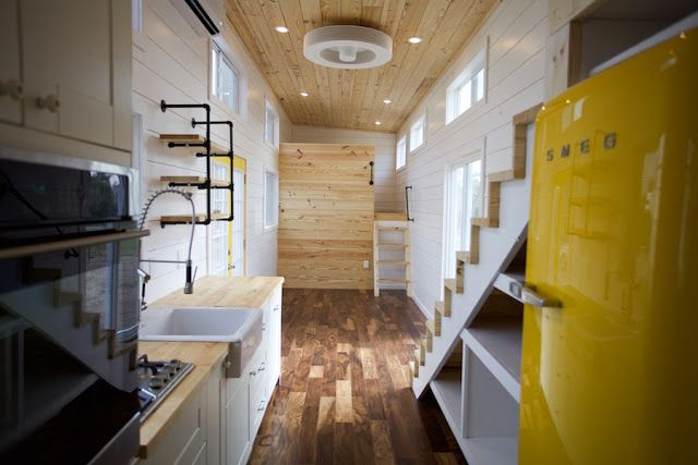 The interior of a tiny house by Nomad Tiny Homes