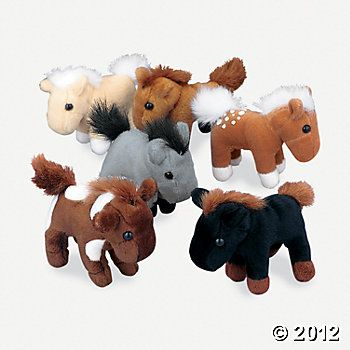 Plush Horses: 3 inches each, $16 for 12...how darling as decor + favor for an equestrian or cowboy/cowgirl party!