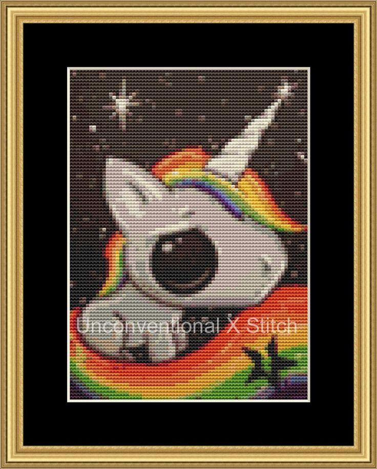 Rainbow unicorn mini cross stitch pattern - Licensed Sugar Fueled by UnconventionalX on Etsy