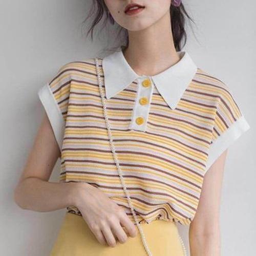 Kawaii Striped Formal Collar Tee   Tokyo Dreams