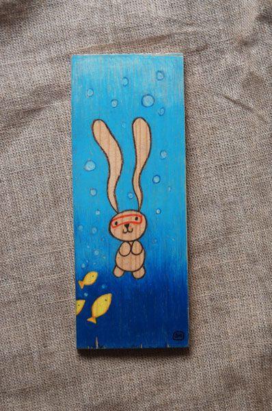 Scuba Ciacio! Illustration of bunny Ciacio on wood