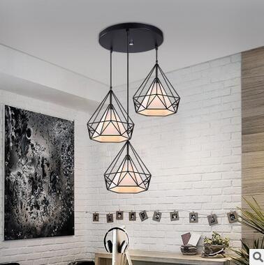 Modern black birdcage pendant lights iron minimalist retro light Scandinavian loft pyramid lamp metal cage with led bulb E27
