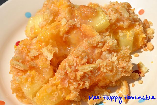 Escalloped Pineapple (cheese and pineapple bake)-- this is so good can be side dish or dessert !...perfect to go with Ham