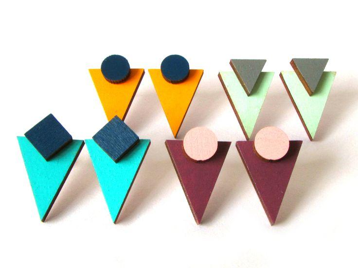 Large Geometric Shape Stud Earrings #triangleearrings #triangle #geometric #geometricearrings #woodenearrings #woodenjewellery #wood #jewellery #redpaperhouse #pastel #colour #bold #minimaljewellery #contemporaryjewellery #graphicjewellery #art