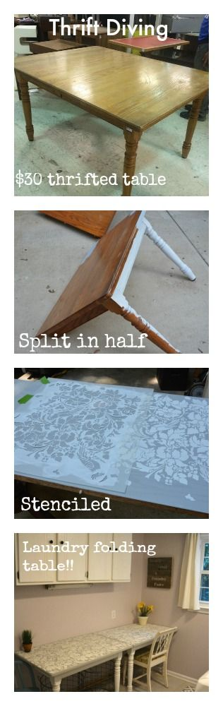 Find a thrifted table with a center leaf. Remove the leaf, place table side-by-side, mount it to the wall, and create a long folding table for laundry or a craft desk for a sewing room! :)